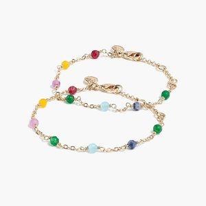 J. Crew Multicolor Beaded Gold Bracelet Set